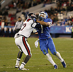 Kentucky Wildcats defensive back Daron Blaylock (7) defends against Samford Bulldogs linebacker Hans Rice (7) during the second half of the UK Football game v. Samford at Commonwealth Stadium in Lexington, Ky., on Saturday, November 17, 2012. Photo by Genevieve Adams | Staff