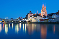 Danube river and Saint Peters cathedral, Regensburg, Germany