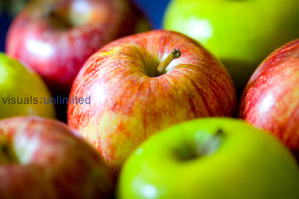 """An apple a day keeps the doctor away"" and according to scientific evidence can help to reduce blood cholesterol, improve bowel function, reduce risk of stroke, prostate cancer, Type II diabetes and asthma. This is due to the fibre and phytonutrients present in the fruit. Royalty Free"