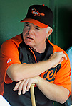 19 June 2011: Baltimore Orioles' Manager Buck Showalter chats in the dugout prior to a game against the Washington Nationals at Nationals Park in Washington, District of Columbia. The Orioles defeated the Nationals 7-4 in inter-league play, ending Washington's 8-game winning streak. Mandatory Credit: Ed Wolfstein Photo