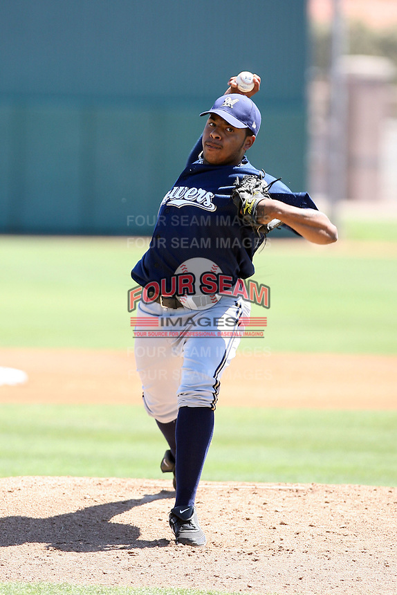 Jeremy Jeffress, Milwaukee Brewers 2010 extended spring training.Photo by:  Bill Mitchell/Four Seam Images.
