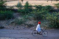 A Rajasthani man commuting on his Bicycle, Rajasthan.
