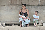 A woman and her children in Santa Elena, in Guatemala's remote Peten region.