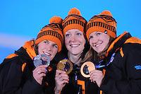 OLYMPICS: SOCHI: Medal Plaza, 17-02-2014, Ladies' 1500m, podium, Ireen Wüst (NED), Jorien ter Mors (NED), Lotte van Beek (NED), ©photo Martin de Jong