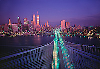 From the top of the Brooklyn Bridge looking at the Bridge and Lower Manhattan Skyline, New York CIty, NY, designed by John Augustus Roebling