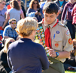 TORRINGTON, CT-041817JS02- Joseph Merrill, 18, a member of Torrington Boy Scout Troop 1, receives his high honors award from Torrington Mayor Elinor C. Carboneduring the 28th annual award ceremony by the Torrington Area Youth Service Bureau and the Mayor's Committee on Youth. Those receiving awards were recognized for their contributions to the Torrington community. <br /> Jim Shannon Republican-American