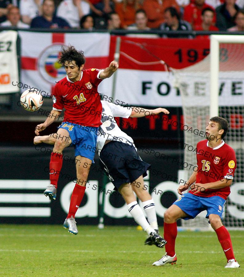 Serbia's player Stefan Babovic, left, jump for the ball, during Serbia U21 vs England U21 UEFA European Under 21 Championship Group B, Netherlands 2007, at De Goffert staduim in  Nijmegen, Holland on June 17, 2007 (Srdjan Stevanovic)