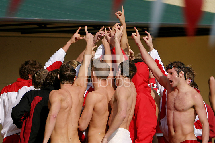 15 January 2005: Stanford Cardinal swim team during Stanford's 144-107 victory over the University of the Pacific Tigers at the Avery Aquatic Center in Stanford, CA.