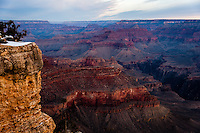 United States, Arizona, Grand Canyon. Sunrise at Yavapai Point. The point has excellent views, and is not far from the Grand Canyon Visitor center.