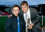 Muirton Park Travel Club Young Player of the Year Award to Murray Davidson presented by Jay Craik.Picture by Graeme Hart..Copyright Perthshire Picture Agency.Tel: 01738 623350  Mobile: 07990 594431
