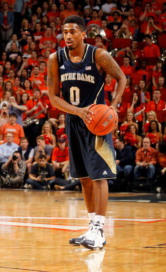 Notre Dame Eric Atkins (0) during the game Saturday, February 22, 2014,  in Charlottesville, VA. Virginia won 70-49.