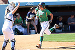 24 April 2016: Notre Dame's Megan Sorlie (12) scores a run. The University of North Carolina Tar Heels hosted the University of Notre Dame Fighting Irish at Anderson Stadium in Chapel Hill, North Carolina in a 2016 NCAA Division I softball game. UNC won game 1 of the doubleheader 7-4.