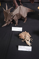 Hermit Crab and a Styracosaurus designed and folded by Satoshi Kamiya, Japan