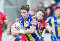 Picture by Allan McKenzie/SWpix.com - 04/03/2017 - Rugby League - Betfred Super League - Salford Red Devils v Warrington Wolves - AJ Bell Stadium, Salford, England - Olsi Krasniqi tackles Kurt Gidley.