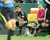 Jaime Moreno #99 of D.C. United after being sunstituted during an MLS match against Toronto FC that was the final appearance of D.C. United's Jaime Moreno at RFK Stadium, in Washington D.C. on October 23, 2010. Toronto won 3-2.