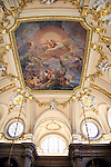 Europe, Spain, Madrid. Palacio Real de Madrid - ceiling fresco of main staircase.