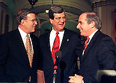 United States Senators enjoy a light bipartison moment following the Senate vote acquitting U.S. President Bill Clinton on February 12, 1999 in the Capitol in Washington, D.C. on February 12, 1999. From left to right: U.S. Senator Byron Dorgan (Democrat of North Dakota); U.S. Senate Majority Leader Trent Lott (Republican of Mississippi); and U.S. Senator Robert Torricelli (Democrat of New Jersey)..Credit: Ron Sachs / CNP