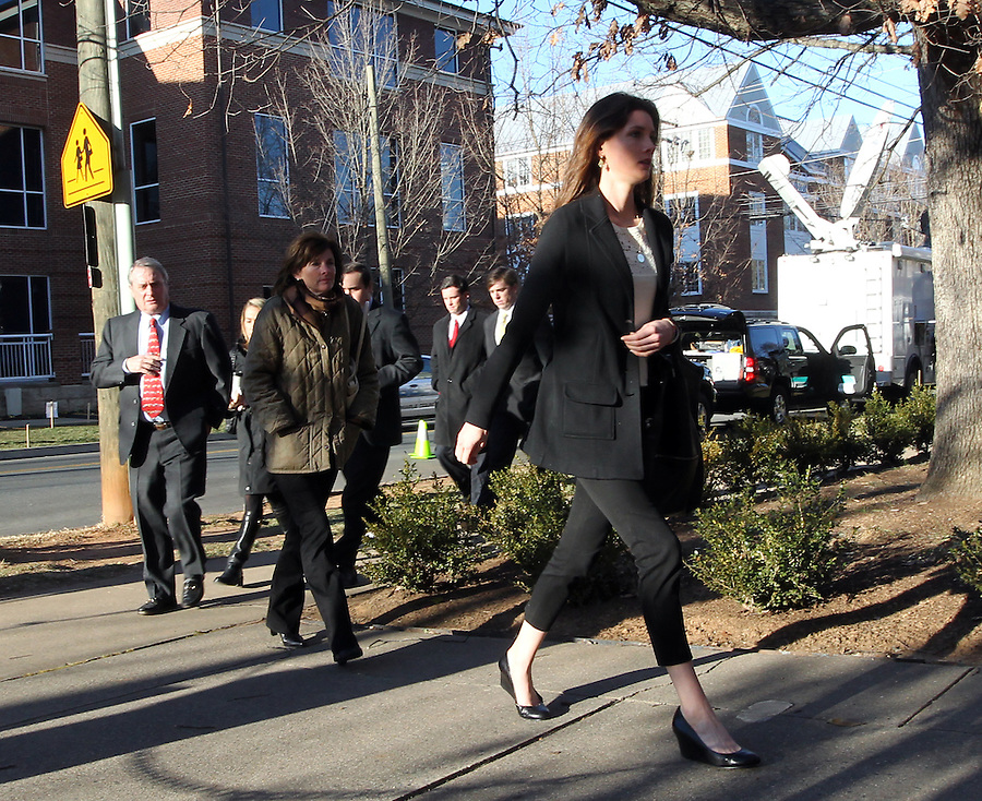 CHARLOTTESVILLE, VA - FEBRUARY 12: Family members for George Huguely walk to the Charlottesville Circuit courthouse for the George Huguely trial. Huguely was charged in the May 2010 death of his girlfriend Yeardley Love. She was a member of the Virginia women's lacrosse team. Huguely pleaded not guilty to first-degree murder. (Credit Image: © Andrew Shurtleff