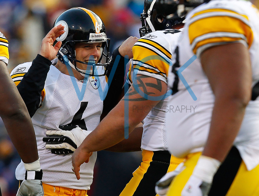 ORCHARD PARK, NY - NOVEMBER 28:  Shaun Suisham #6 of the Pittsburgh Steelers celebrates with teammates after kicking a 48 yard field goal against the Buffalo Bills during the game on November 28, 2010 at Ralph Wilson Stadium in Orchard Park, New York.  (Photo by Jared Wickerham/Getty Images)