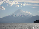 Chile, Lake Country: View of Osorno Volcano while riding across Lake Todos Los Santos..Photo #: ch630-276..Photo copyright Lee Foster www.fostertravel.com, lee@fostertravel.com, 510-549-2202.