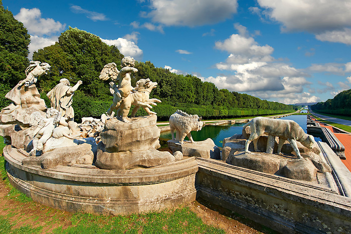 The fountain of Venus & Adonis. The theme is hapless love and the figures are sculpted from Carrara marble and are placed on a travertine base. Completed in 1780 by Gaetano Salomone. The Kings of Naples Royal Palace of Caserta, Italy. A UNESCO World Heritage Site