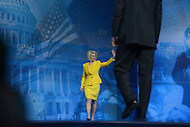 March 14, 2013  (National Harbor, Maryland)  Callista Gingrich walks on stage to introduce her husband Newt Gingrich at the 2013 Conservative Political Action Conference (CPAC) in National Harbor, MD.  (Photo by Don Baxter/Media Images International)