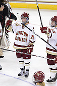 Emily Field (BC - 15), Jackie Young (BC - 25) - The Boston College Eagles defeated the Dartmouth College Big Green 4-3 on Sunday, October 23, 2011, at Kelley Rink in Conte Forum in Chestnut Hill, Massachusetts.