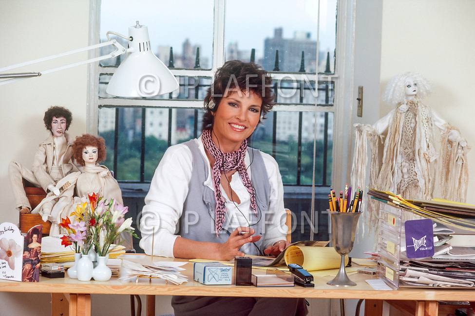 October 1983 --- American actress Raquel Welch at home in New York. --- Image by © JP Laffont