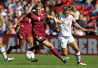 COLLEGE PARK, MD - OCTOBER 21, 2012:  Becky Kaplan (19) of the University of Maryland loses the ball to Kassey Kallman (9) of Florida State during an ACC women's match at Ludwig Field in College Park, MD. on October 21. Florida won 1-0.