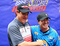 May 1, 2016; Baytown, TX, USA; NHRA funny car driver Chad Head (left) with Ron Capps during the Spring Nationals at Royal Purple Raceway. Mandatory Credit: Mark J. Rebilas-USA TODAY Sports