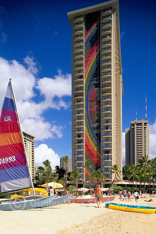 Waikiki Beach, Honolulu, Oahu, Hawaii, Hawaiian Islands, USA, United States - Hilton Hawaiian Village Resort Hotel
