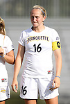 07 September 2012: Marquete's Megan Jaskowiak. The University of North Carolina Tar Heels defeated the Marquette University Golden Eagles 4-0 at Koskinen Stadium in Durham, North Carolina in a 2012 NCAA Division I Women's Soccer game.