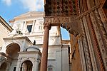 The Bergamo Cathedral with the Basilica of Santa Maria Maggiore portico in the foreground in Bergamo, Italy