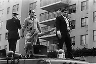 Manhattan, New York City, New York State, USA. June 29th,1970. Joe Colombo, founder of the Italian American Civil Rights League and alleged organized crime boss, speaks to a crowd of 75,000 Italian Americans on New York's Central Park South (59th Street) during Italian Unity Day. His son Anthony (dark suit) stands next to them as they ride on top of a vehicle in the parade.