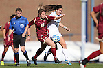 03 November 2013: Boston College's Patrice Vettori (18) and North Carolina's Brooke Elby (93). The University of North Carolina Tar Heels hosted the Boston College Eagles at Fetzer Field in Chapel Hill, NC in a 2013 NCAA Division I Women's Soccer match and the quarterfinals of the Atlantic Coast Conference tournament. North Carolina won the game 1-0.