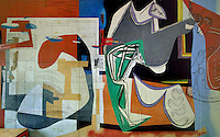 Detail of the painted mural entitled 'the painting of silence', 1948, by Le Corbusier (Charles-Edouard Jeanneret, 1887-1965), and furniture by Charlotte Perriand, 1903-1999, in the curved lounge or Salon Courbe of the Fondation Suisse or the Swiss Foundation, designed by Le Corbusier and Pierre Jeanneret (his cousin, 1896-1967) and inaugurated 1930, in the Cite Internationale Universitaire de Paris, in the 14th arrondissement of Paris, France. This painted mural replaced an earlier photographic mural from 1933. The structure sits on stilts and the reception area has an open floor plan, the facade is simple and flat with many windows and there is a rooftop garden. It is listed as a historic monument. The CIUP or Cite U was founded in 1925 after the First World War by Andre Honnorat and Emile Deutsch de la Meurthe to create a place of cooperation and peace amongst students and researchers from around the world. It consists of 5,800 rooms in 40 residences, accepting another 12,000 student residents each year. Picture by Manuel Cohen. L'autorisation de reproduire cette œuvre doit etre demandee aupres de l'ADAGP/Permission to reproduce this work of art must be obtained from DACS.