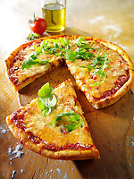 Italian cheese Pizza with rocket - margerita photo. Funky stock photos