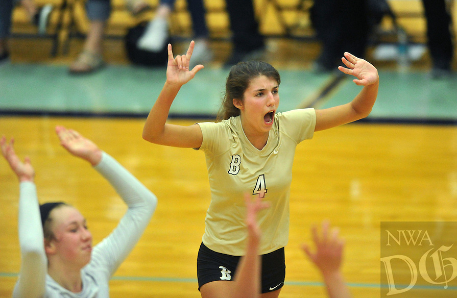 NWA Democrat-Gazette/MICHAEL WOODS &bull; @NWAMICHAELW<br /> Bentonville's Sadie Pate celebrates with her team after beating Har-Ber in the second set of their game Thursday October 1, 2015 at Har-Ber High School.