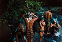 Bolaven plateau, Laos, August 19, 2007.An entire village meets at dusk in a clear stream for collective evening shower and laundry. Bolaven plateau displays amazing natural beauty: tropical forests, huge waterfalls, traditional way of life...