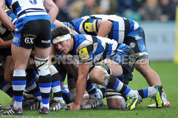 Francois Louw looks on at a scrum. Aviva Premiership match, between Bath Rugby and London Wasps on February 22, 2014 at the Recreation Ground in Bath, England. Photo by: Patrick Khachfe / Onside Images