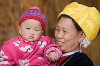 Grandmother and child from Zhuang Minority Group, Ping An, Guilin. China has a one child policy to limit population.