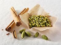 Cinamon sticks, cardamom & coriander seeds