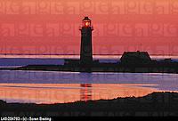 Lighthouse at sunset at Omoe Island. Denmark
