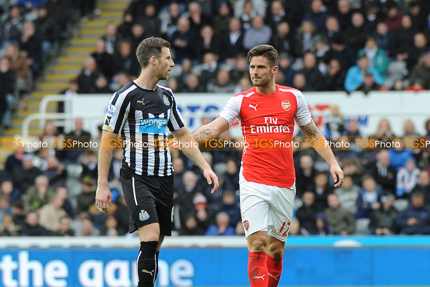Olivier Giroud of Arsenal argues with Michael Williamson of Newcastle United after a late tackle - Newcastle United vs Arsenal - Barclays Premier League Football at St James Park, Newcastle upon Tyne - 21/03/15 - MANDATORY CREDIT: Steven White/TGSPHOTO - Self billing applies where appropriate - contact@tgsphoto.co.uk - NO UNPAID USE
