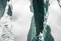 Close up of crevasse on Fox Glacier, Westland National Park, West Coast, World Heritage, New Zealand