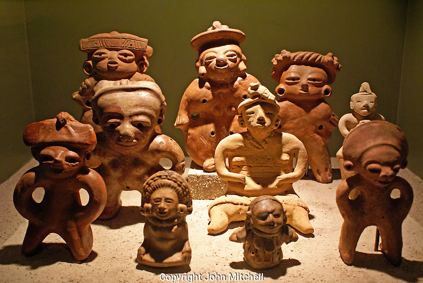 Pre-Columbian ceramic clay figurines in the Museo Nacional de Antropologia David J. Guzman in San Salvador, El Salvador