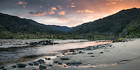 Sunrise over Kohaihai River near Karamea, Kahurangi National Park, Buller Region, West Coast, New Zealand