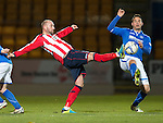 St Johnstone v Kilmarnock.....09.11.13     SPFL<br /> Kris Boyd and Gary Miller<br /> Picture by Graeme Hart.<br /> Copyright Perthshire Picture Agency<br /> Tel: 01738 623350  Mobile: 07990 594431