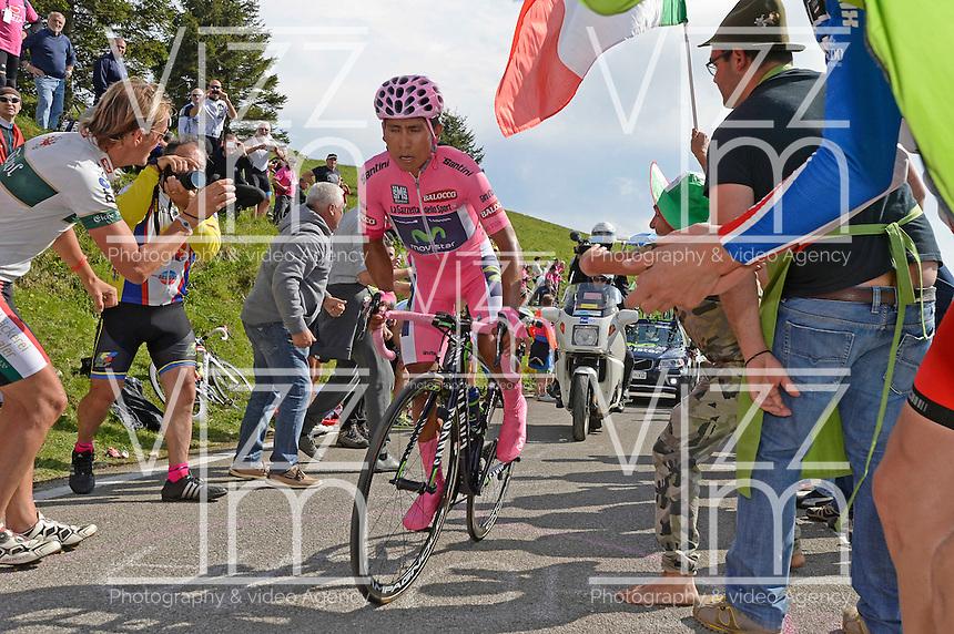 foto Fabio Ferrari - LaPresse<br /> 30 05 2014 Bassano del Grappa (Italia)<br /> sport<br /> Giro d'Italia 2014 - 19a tappa - Cronometro Individuale Bassano del Grappa-Cima Grappa.nella foto:Quintana Rojas Nairo Alexand -Col- (Movistar) VINCITORE DI TAPPA<br /> <br /> photo Fabio Ferrari - LaPresse<br /> 30 05 2014 Bassano del Grappa  (Italia)<br /> sport<br /> Giro d'Italia 2014 - 19th stage - Bassano del Grappa-Cima Grappa.<br /> In the picture:Quintana Rojas Nairo Alexand -Col- (Movistar)