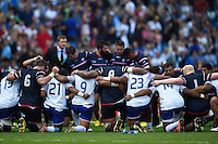The Samoa and USA teams huddle together after the match. Rugby World Cup Pool B match between Samoa and the USA on September 20, 2015 at the Brighton Community Stadium in Brighton, England. Photo by: Patrick Khachfe / Onside Images